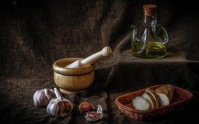 Картинка масло, хлеб, натюрморт, корзинка, чеснок