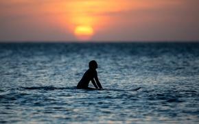 Картинка море, девушка, закат, горизонт, серфинг, girl, sea, sunset, surf, horizon