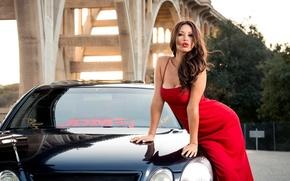 Картинка секси, платье, губы, автомобиль