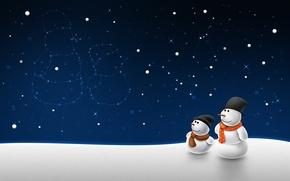 Картинка звезды, Зима, снеговики, созвездия