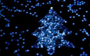 Картинка синий, праздник, чёрный, новый год, рождество, звёздочки, ёлка, christmas, new year
