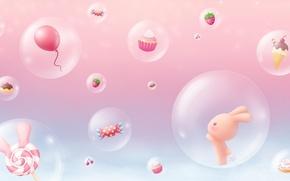 Картинка фон, аниме, арт, сладости, зайчик, детская, конфетка