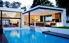 Картинка вода, дом, огонь, стулья, интерьер, бассейн, освещение, столы, камин, диваны