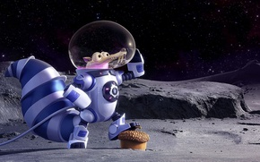 Обои cinema, Ice Age, moon, stars, cartoon, movie, animal, planet, nuts, film, pose, squirrel, galaxies, cosmonaut, ...