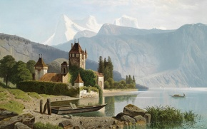 Картинка картина, живопись, painting, View of Castle Oberhofen on Lake Thun, 1865, Theodor Nocken