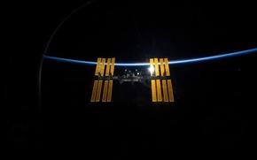 Картинка earth, space, light, МКС, Space, International, ISS, background, Wallpaper, planet, satellite, ship, brightness, horizon, atmosphere, …