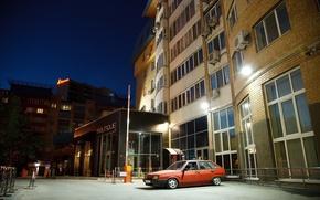 Картинка тюнинг, вечер, двор, красная, жигули, lada, лада, stance, многоэтажка, ваз 2109