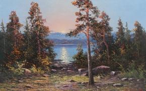 Картинка вода, солнце, деревья, камни, берег, масло, картина, художник, холст, заход, JOHAN, OSSIAN, ANDERSSON