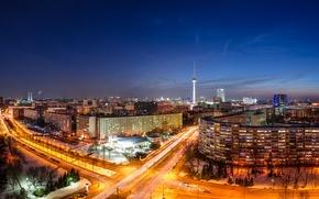 Картинка дорога, машины, ночь, город, огни, здания, дома, выдержка, Германия, панорама, Germany, телебашня, столица, Deutschland, Берлин, …