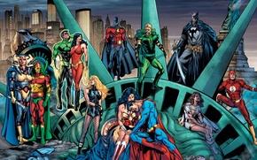 Картинка batman, comics, Superman, green lantern, wonder woman, dc universe, flash