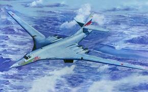 Картинка авиация, арт, самолёт, стратегический, ВВС РФ, Ту-160, советский, бомбардировщик-ракетоносец