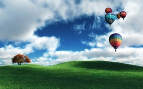 Картинка поле, облака, дерево, шары, воздушные