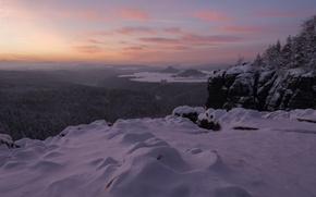 Картинка зима, снег, горы, Германия, панорама, Germany, Саксония, Saxony, Саксонская Швейцария, Saxon Switzerland, Эльбские Песчаниковые горы, ...