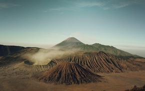 Обои вулкан, небо, долина, панорама, горы