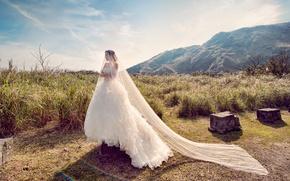 Картинка девушка, невеста, белое платье