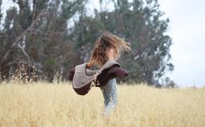 Картинка поле, лето, девушка, волосы