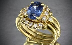 Картинка бриллианты, кольцо, камень, золотое, драгоценный, синий