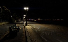 Картинка пляж, пустота, ночь, атмосфера, Лос-Анджелес