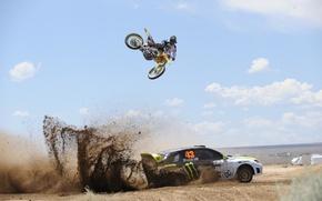 Обои машина, авто, обои, мотоцикл, wallpaper, полёт, subaru, cars, субару, топ гир, трюк, top gir