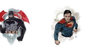 Картинка batman, superman, Clark Kent, Bruce Wayne, batman vs superman