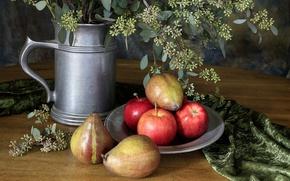 Картинка plate, flowers, fruit, Still life, silver vase