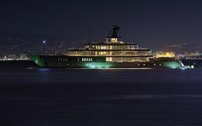 Картинка море, ночь, city, город, вечер, яхта, night, yacht, yachts, супер яхта, superyacht, mega yacht, катер.