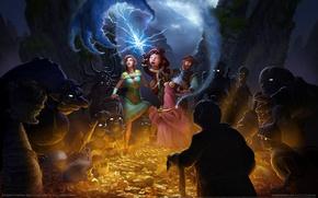 Картинка золото, фэнтези, монстры, клад, герои, game wallpapers, The Book of Unwritten Tales 2