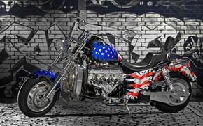 Картинка стена, колеса, Мотоцикл, american flag
