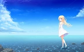 Картинка небо, вода, девушка, облака, горизонт, голубые глаза, Art, длинные волосы, сарафан, светлые волосы, uttt