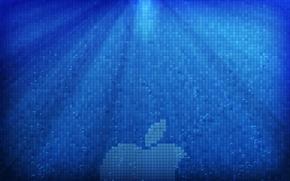 Обои лучи, свет, apple, пузыри, пиксели, Hi-Tech, вода, logo