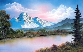 Картинка лес, небо, вода, облака, снег, деревья, пейзаж, горы, ветки, озеро, картина, живопись, кусты, горный хребет, …