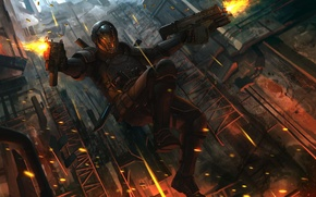 Картинка оружие, прыжок, арт, шлем, мужчина, броня, гильзы, soldier, выстрелы, paladin, fanart, иллюстрация к книге, Gabriel, …