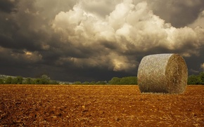 Обои поле, облака, буря