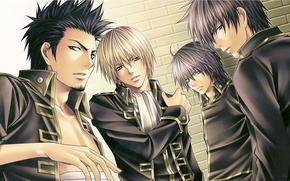 Обои мужчины, военная форма, бинты, самураи, Shinsengumi, Gintama, Okita Sougo, Hijikata Toushirou, Isao Kondo, Yamazaki Sagaru