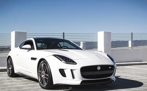 Картинка white, jaguar, coupe, f-type