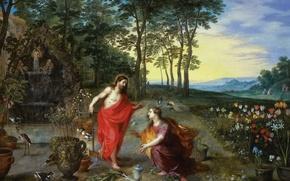 Обои картина, Ян Брейгель младший, мифология, Не Прикасайся ко Мне