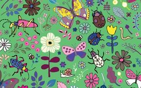 Обои Butterflies, beetles, blooms
