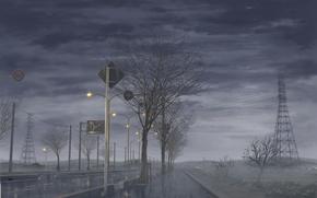 Картинка дорога, небо, деревья, тучи, туман, дождь, япония, фанари, густые, Rainy day, проливной
