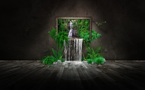Картинка зелень, природа, бабочка, водопад, картина, photomanipulation