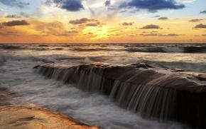 Картинка море, небо, облака, камни, океан, потоки