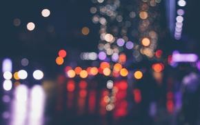 Обои боке, улица, огни