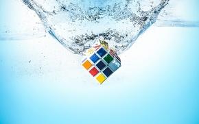 Картинка вода, макро, кубик Рубика