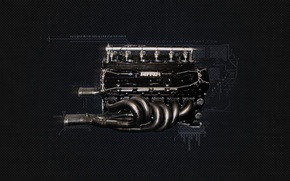Обои Двигатель, Ferrari F1 Engine, Ferrari, 1995 F1 Engine