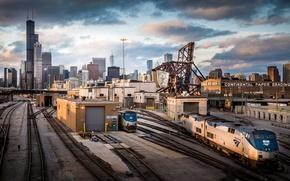 Обои Чикаго, железная дорога, поезда, США, небоскрёбы, транспортный узел
