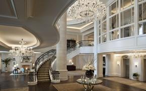 Обои дом, стол, обои, вилла, интерьер, паркет, лестница, люстра, wallpaper, камин, пентхаус, квартира, дорого, penthouse, холл, ...