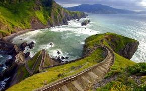 Обои море, дорога, берег, скалы, Испания