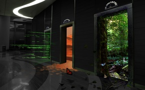 Картинка лес, бабочка, пустыня, двери, Лифт, этаж
