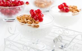 Картинка десерт, смородина, гранолла, панна-кота