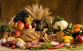 Картинка пшеница, зелень, лимон, грибы, масло, еда, лук, хлеб, виноград, мясо, перец, фрукты, овощи, персики, сливы, ...