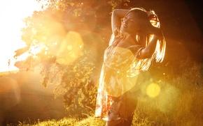 Картинка девушка, солнечный свет, Faint Silhouette